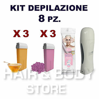 KIT SCALDACERA AXIMA + 6 ricariche cera 100ml TITANIO MIELE + 50 strisce in TNT