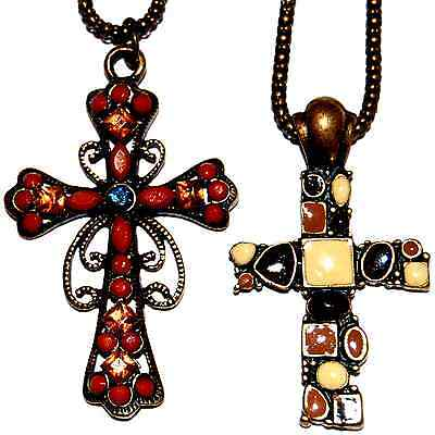 CHRISTIAN FAITH CROSS NECKLACE 2 Styles #F3 Antiqued Bronze Chain *SHIPPED FAST!