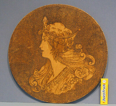 "1908 Old Pyro Art Original Art Nouveau Lady Wall Plaque 11 1/2"" Dia ** On Sale**"