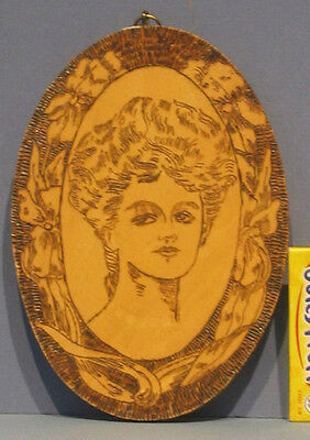 1917 OLD PYRO ART ORIGINAL ART NOUVEAU-ish LADY WALL PLAQUE  SM OVAL**ON SALE**