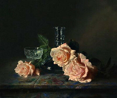 Oil painting Antonov still life rose flower with glass cup vase on table canvas