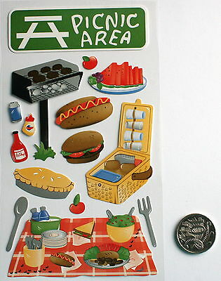 SCRAPBOOKING NO 198 - 15 Piece PICNIC THEMED STICKERS -  PRICE REDUCED TO CLEAR
