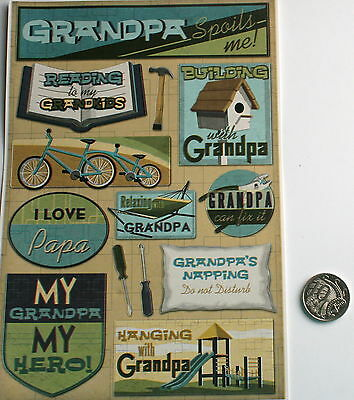 SCRAPBOOKING NO 206 - 13 Piece GRANDPA STICKERS - PRICE REDUCED TO CLEAR