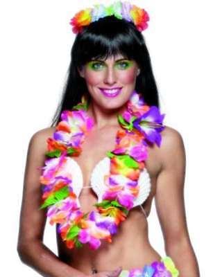 Hawaiian Luau Deluxe Garland Lei Fancy Dress Bright Colours New h