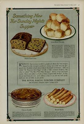 1918 ROYAL BAKING POWDER AD / SOMETHING NEW FOR SUNDAY NIGHTS SUPPER BAKER's ART
