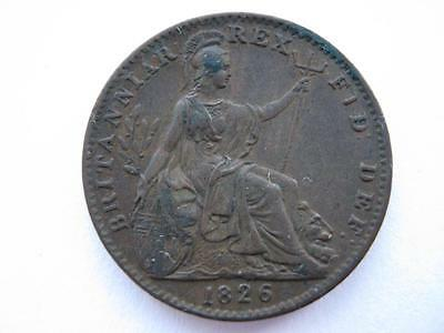1826 Farthing, 1st issue, GVF.