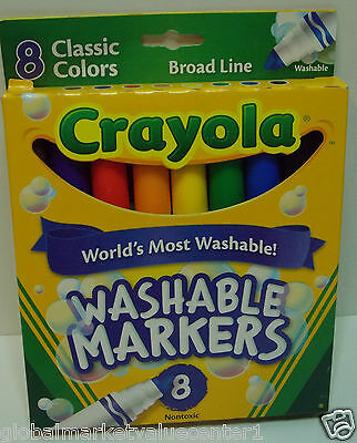 8 Classic Colors Crayola Broad Lime Washable Washable Markers Nontoxic