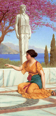 Art Oil painting John William Godward - Ancient Pastimes young girl in landscape