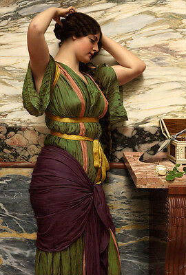 Art Oil painting John William Godward - A Fair Reflection young beauty & mirror