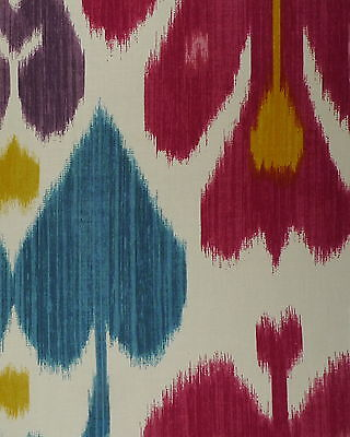 CLAREMONT Ikat Central Asian Galigai Cream Red Blue Cotton Remnant New
