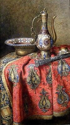 Huge Oil painting Max Schoedl - Orientalist still life Cloisonne jug and plate