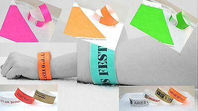 500 event wristbands, tyvek paper like, choice of colours, children bands, party