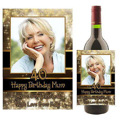 Personalised Wine Champagne Bottle PHOTO Label N21 18th 21st 30th Birthday Gift