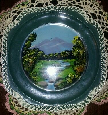 """Harker Pottery """"Chesterton Olive Green"""" decorated plate 8 1/4"""""""