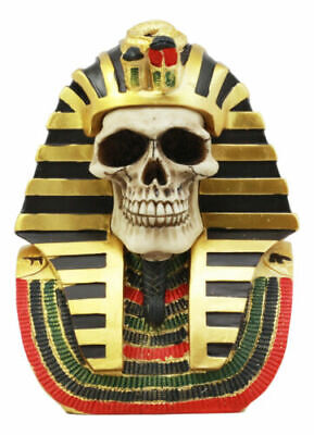 Pharaoh King Tut Skull Bust Figurine Ancient Egyptian Skeleton Mask Sculpture 7""