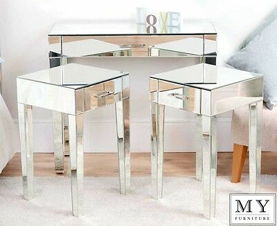 Luxury  Mirrored Dressing  Console Table and 2 x Bedside Lamp table  ZOE