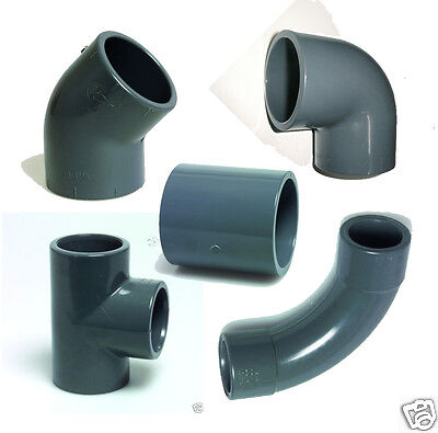 Grey PVC Koi Pond Pressure Pipe Fittings Solvent Weld