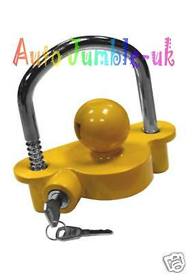 Yellow tow ball hitch lock HIGH SECURITY DETERENT for Erde box trailer trailor