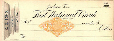 MINT 1900 JACKSON TENNESSEE LAWYER's CHECK w LG GOLD LIBERTY REVENUE! $40 RETAIL