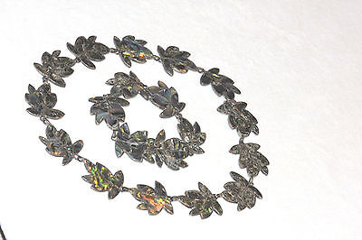 OLD signed HECHO EN MEXICO 925 STERLING & ABALONE SHELL NECKLACE & BRACELET SET