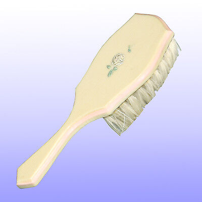 Vintage Antique Handpainted Pink & Ivory Celluloid Natural Hair Baby Brush
