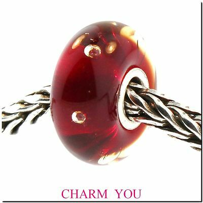 AUTHENTIC TROLLBEADS 61158 Red Bubbles Glass Bead - Retired