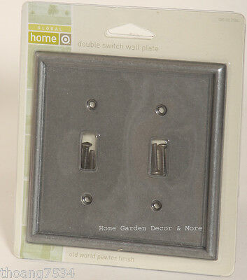 Old Word Pewter Double Light Switch Wallplate Wall Plate Outlet Cover
