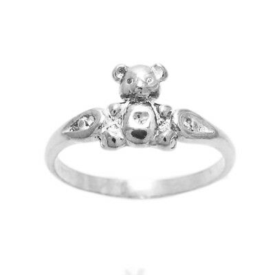 925 Sterling Silver Adorable Teddy Bear Band Ring Size 3-9