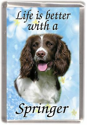 """English Springer Spaniel Dog Fridge Magnet """"Life is better with .."""" by Starprint"""