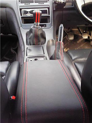 Fits Nissan 300Zx Armrest Cover + Gaiters Set Red Stitch