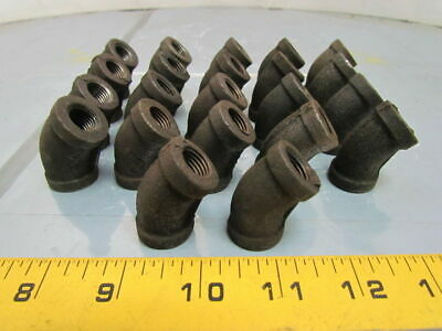 "1/4""NPT Malleable Iron Black Pipe 45deg Elbow Class 150 Lot of 22"