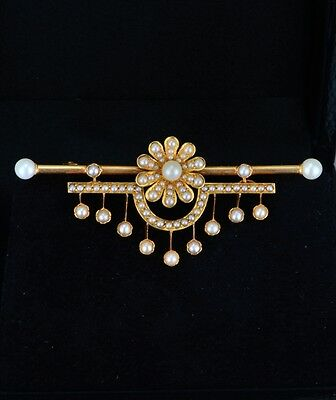 Genuine Victorian Natural Pearls Daisy Outstanding Dangling Bar Brooch