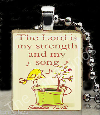 The Lord is My Strength Religious Scrabble Tile Pendant Bible Quote Exodus 15:2