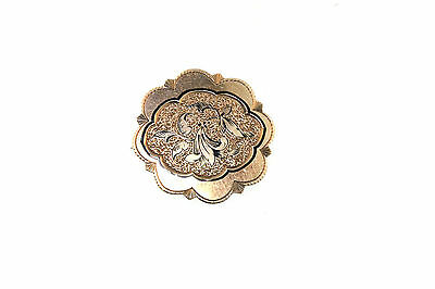 """Victorian Y/Gold Gilt Flower Embossed Etched Surround Pin Pendant  C-Clasp 1""""Rnd"""