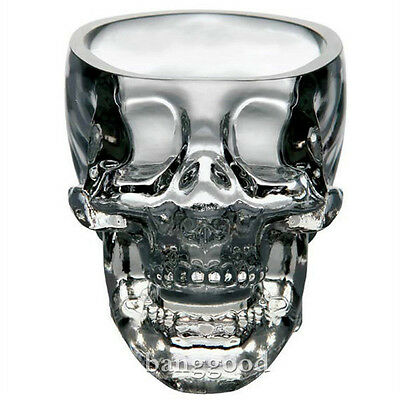 Crystal Skull Head Glass Vodka Whiskey Shot Cup Drinking Ware Home Bar 2.3ounces