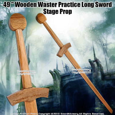 """48"""" Wooden Waster Practice Medieval Long Sword Stage Prop"""