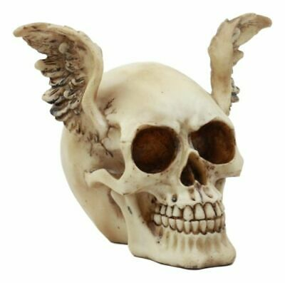 Winged Evil Dark Devil Skull Statue Time Waits For No Man Skeleton Figurine