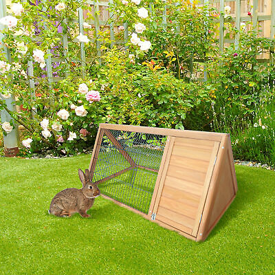 "Pawhut 46"" Triangle Wooden Rabbit Hutch A-Frame House Chicken Coop Hamster Cage"
