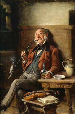 Huge Oil painting portraits elder smoking by table with his violin no framed