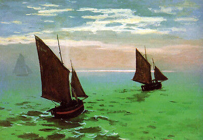 Art Oil painting Claude Monet - Fishing Boats at Sea free shipping cost canvas