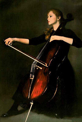 "Dream-art Oil painting nice young girl women beauty playing cello canvas 24""36"""