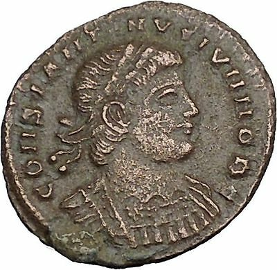 CONSTANTIUS II Jr Constantine the Great son Roman Coin Glory of Army  i37584
