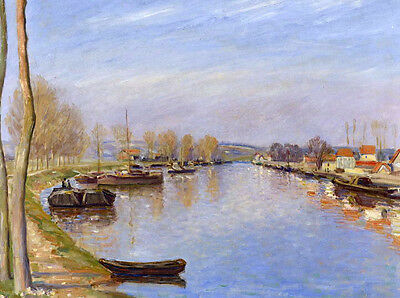 Oil painting old town landscape along the river with canoes in autumn landscape