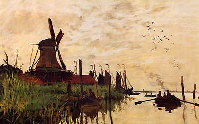 Charming Oil painting Claude Monet - Windmill at Zaandam landscape no framed