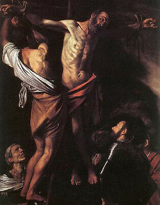 """Excellent Oil painting The Crucifixion of St. Andrew on the cross on canvas 36"""""""
