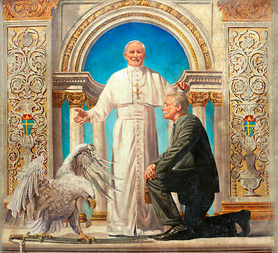Huge art Oil painting portraits priest with man and hawk on sword free shipping