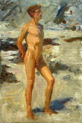GAY Oil painting Henry-Scott-Tuke nude young boy on a beach in landscape canvas