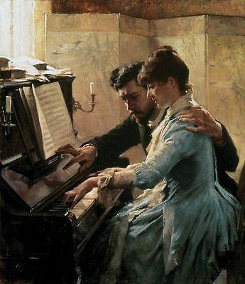 Art Oil painting Albert Edelfelt - At the piano - The Piano Lesson canvas