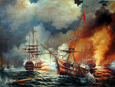 Stunning canvas Oil painting seascape ship big sail boats Burning warships 36""