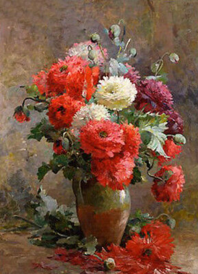 Oil painting Albert-Tibulle Furcy de Lavault - Still life of Peonies flowers